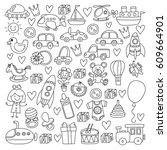 vector doodle set with toys for ... | Shutterstock .eps vector #609664901