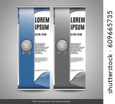 roll up banner template design. ... | Shutterstock .eps vector #609665735