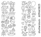 vector doodle set with toys for ... | Shutterstock .eps vector #609665825