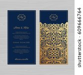 wedding invitation or greeting... | Shutterstock .eps vector #609666764