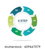 six step circle infographic   Shutterstock .eps vector #609667079