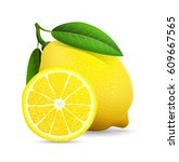 fresh lemon with leaves isolaed ... | Shutterstock .eps vector #609667565