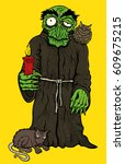 halloween horror monk in robe... | Shutterstock . vector #609675215