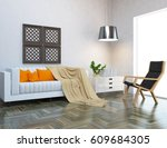 white interior design with... | Shutterstock . vector #609684305