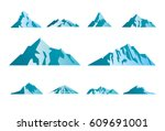 mountain icons or logotypes.... | Shutterstock .eps vector #609691001