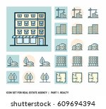 icon set for real estate agency.... | Shutterstock .eps vector #609694394