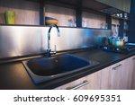 modern kitchen sink  kitchen... | Shutterstock . vector #609695351