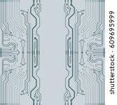 vector flat circuit board... | Shutterstock .eps vector #609695999