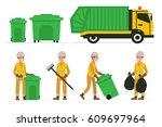 garbage man at work. vector... | Shutterstock .eps vector #609697964