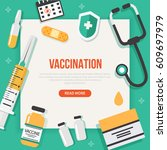 vaccination concept poster with ... | Shutterstock .eps vector #609697979