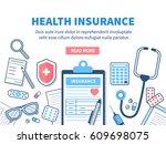 Health insurance concept banner. Vector flat line illustration.