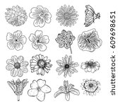 set of flowers  black and white ... | Shutterstock . vector #609698651