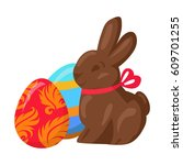 sweet chocolate bunny and two...   Shutterstock .eps vector #609701255