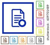 document certificate flat color ... | Shutterstock .eps vector #609701489