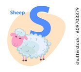 character s cheerful sheep on... | Shutterstock .eps vector #609703379