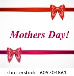 gift card with bow and red...   Shutterstock .eps vector #609704861
