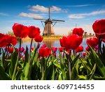 famous dutch windmills among...   Shutterstock . vector #609714455
