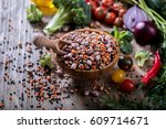 lentils and beans in bowl ... | Shutterstock . vector #609714671