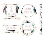 tribal frames for invitation.... | Shutterstock .eps vector #609715541