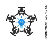 brainstorming and teamwork icon.... | Shutterstock .eps vector #609719537