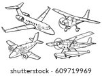 cartoon airplanes coloring book | Shutterstock .eps vector #609719969
