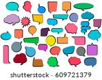 set comic stickers of comic... | Shutterstock .eps vector #609721379