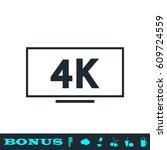 lcd 4k icon flat. simple black... | Shutterstock . vector #609724559