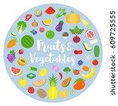 fruits and vegetables arrange...   Shutterstock .eps vector #609725555