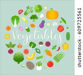 vegetables arrange in circle...   Shutterstock .eps vector #609725561