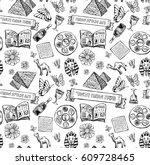 passover jewish holiday pattern ...   Shutterstock .eps vector #609728465