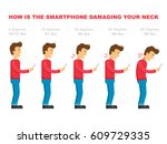 the bad smartphone postures the ... | Shutterstock .eps vector #609729335