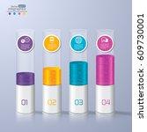 modern paper infographics... | Shutterstock .eps vector #609730001