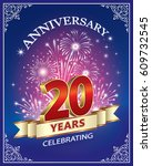 anniversary card 20 years in a... | Shutterstock .eps vector #609732545