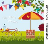 hand drawn poster picnic party...   Shutterstock .eps vector #609733685