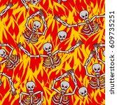 sinners in fire hell seamless... | Shutterstock . vector #609735251