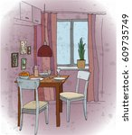 interior color illustration.... | Shutterstock .eps vector #609735749