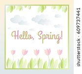 vector floral illustration with ... | Shutterstock .eps vector #609737441