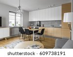 contemporary kitchen with... | Shutterstock . vector #609738191