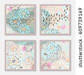 doodled flowers on light pastel.... | Shutterstock .eps vector #609739169