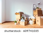 move. cardboard boxes and... | Shutterstock . vector #609741035