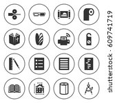 set of 16 paper filled icons... | Shutterstock .eps vector #609741719