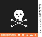 jolly roger icon flat. white... | Shutterstock .eps vector #609742199