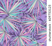 colorful palm leaves   seamless ... | Shutterstock .eps vector #609753125