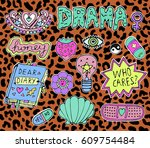 trendy fashion stickers or... | Shutterstock .eps vector #609754484