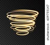 gold neon swirling circles... | Shutterstock .eps vector #609755147