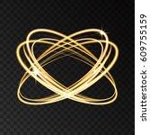 gold neon circle lights effect... | Shutterstock .eps vector #609755159