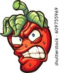 angry cartoon strawberry.... | Shutterstock .eps vector #609755969