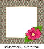 square floral festive frame.... | Shutterstock .eps vector #609757901