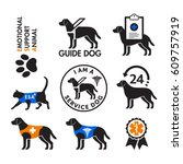 Stock vector service dogs and emotional support animals signs icons 609757919