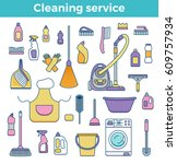 household cleaning supplies... | Shutterstock .eps vector #609757934